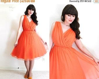 ON SALE 50s Dress / 1950s 1960s Dress / Coral Chiffon Party Dress