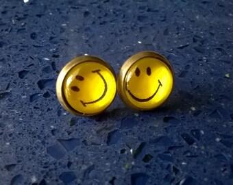 Smiley Face Earrings,Emoji Earrings,Smiling Face Earrings,Boho Jewelry,Happy Face,Funny Face