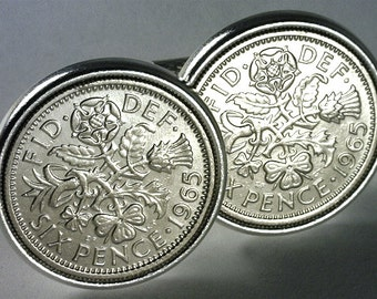 WEDDING ESSENTIAL - Old English Sixpence Cufflinks - Luck Sixpence Cufflinks - Free Cufflink Box - FREE & Reduced Shipping !