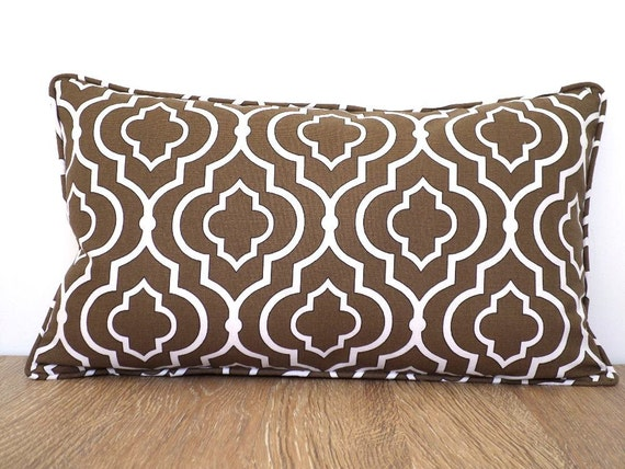 Brown decorative pillow 12x20, brown throw pillow piping, Moroccan pillow dorm decor, geometric lumbar pillow hostess gift for her