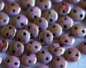 6mm CzechMates Lentil Beads - Opaque Rose Gold Topaz Luster - Picasso Czech Glass Beads - Two Hole Lentil Beads - Bead Soup Beads