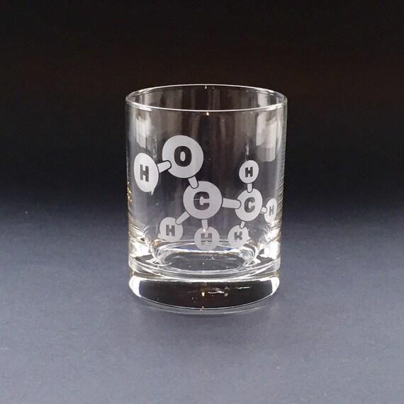 Ethanol Molecule Lowball Glass
