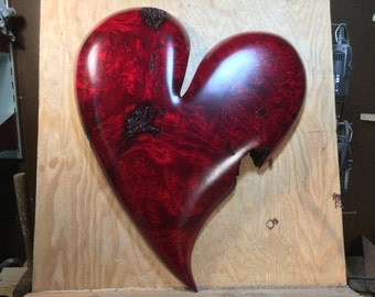 Special wooden heart red romantic Anniversary gift wood carving present wood heart engagement gift