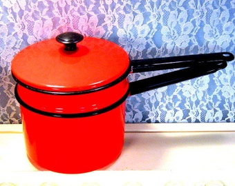 Vintage Red Enamel Double Boiler Saucepan, 1950s to 1960s Mid Century Cookware, Metal Cookware Sauce, Camping Cookware, Decorative Kitchen