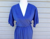 V-neck Royal Blue Dress
