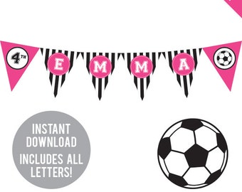 INSTANT DOWNLOAD Soccer Party (Pink) - DIY printable pennant banner - Includes all letters, plus ages 1-18