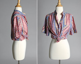 Vintage Summer Plaid Henley Blouse - Pink Bluse Rainbow Oversized Short Sleeve Cuffed Boxy Top Shirt Cotton Woven - Size Large L