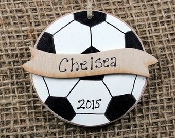 Soccer Ball Handpainted Wooden Ornament Personalized