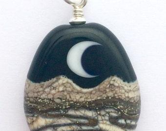 PENDANT: Handmade Lampwork Golden Desert Paths Crescent Moon Mountain Landscape Focal Bead w/ Sterling Silver Findings