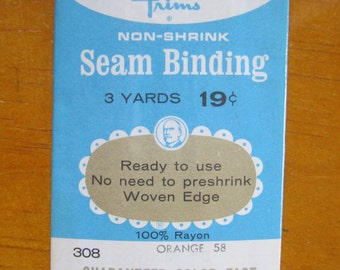 vintage wrights non-shrink woven edge seam binding in orange 58 3 yards
