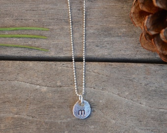 "Sterling Silver INITIAL necklace on Sterling Silver Ball Chain 18"" You CHOOSE Initial organic pebble charm"