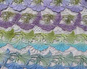 Morning Glory Lace, Lace Flower,  Hand Dyed Venise Lace, Lace Applique, Lace Trim, Crazy Quilt, Scrap Book Supplies