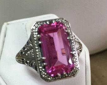 Pink Topaz in Sterling Silver Size 10