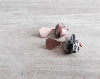 Rose GoldDrop Earrings with Rhodonite, Pink Drop Earrings, Rhodonite Earrings