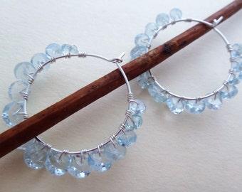 Beaded hoop earrings gemstone hoop earrings aqua and silver wire wrapped hoops aquamarine hoop earrings aquamarine hoops
