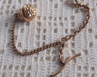 Vintage Vest Pocket Watch Chain Engraved Watch Fob