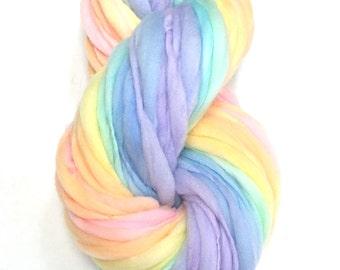 Self striping rainbow yarn, 65 yards, 4 ounces and 114 grams, handspun thick and thin in merino wool