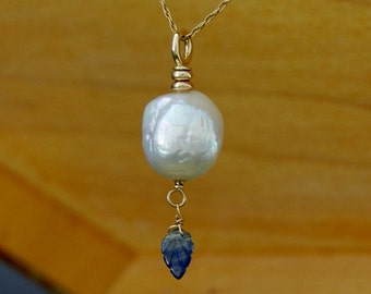 Aine - Large nucleate pearl pendant, sapphire, gold, Somthing Blue, pearl necklace, pendant necklace, for her, wedding, fashion
