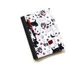 Dog notebook fabric covered composition journal, black white red, scottie dogs, cute puppies, dog lover gift, back to school, college