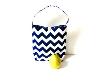 Reusable lunch tote bag, chevron navy blue, tote with handle, insulated bag, lunch sack, student lunch, teacher, co-worker gift, lunch bag