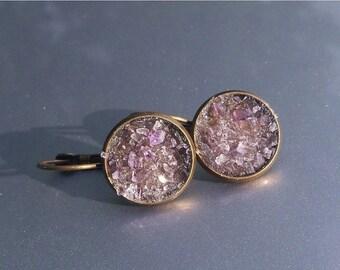20% OFF Amethyst Crater Earrings Lever Back Brass Earrings