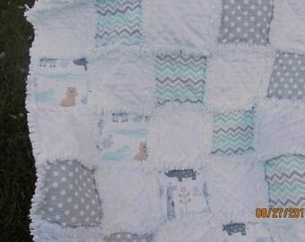 Baby girl rag quilt, chevron, baby animals, elephant, white minky