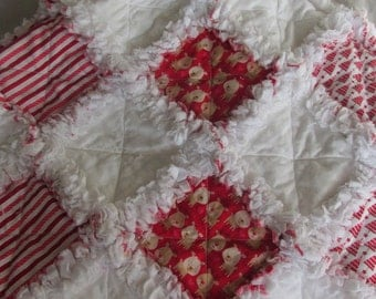 Christmas rag quilt, shabby rag baby quilt, baby reindeer, little trees, snowflakes
