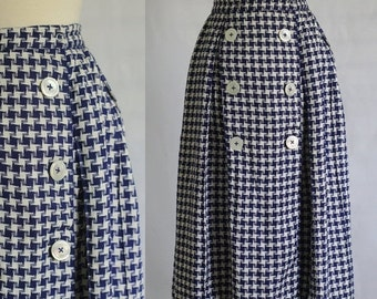 Vintage 1960s Skirt 60s Skirt Vintage Midi Skirt Houndstooth Skirt Box Pleated Skirt Navy Blue Skirt Womens Size Small