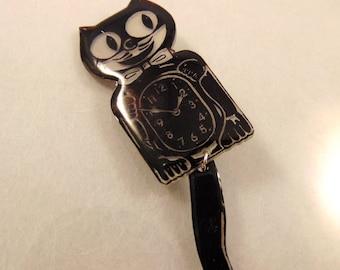 Retro Kitty Cat Clock Brooch