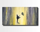 Original Large Abstract painting 18 X 36 Inches-by Artist JMJartstudio-Forever holding Wall art-wall decor - Oil painting-Umbrella painting