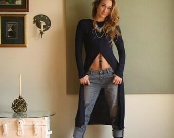 Boho Long Tunic Shift Dress Long Sleeves Minimalist Hippie Chic Tee Shirt Dress Lagonlook Midi - Rayon/Spandex  XS - L (More Colours)