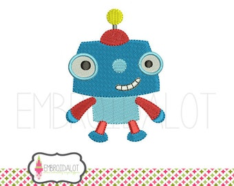 Robot embroidery design. Cute, geektacular robot machine embroidery. Fun geek embroidery for boys and awesome girls.