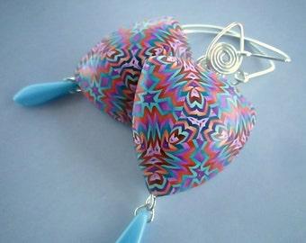 Kaleidoscope Earrings, Polymer Clay Earrings, Handmade Earrings, Millefiori Earrings, Elegant Jewelry, Starburst Earrings, Custom Jewelry