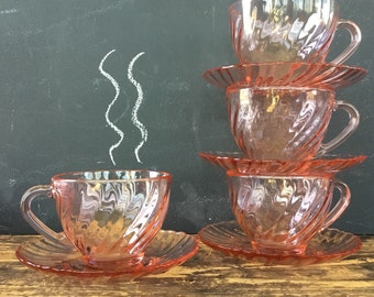 Vintage French Rosaline Swirl Cups and Saucers Set