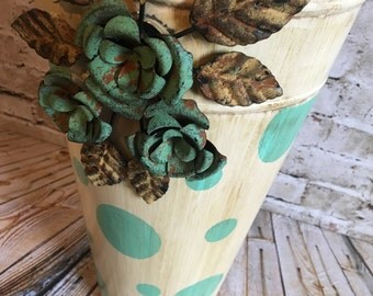 Galvanized bucket,hand painted bucket,aqua bucket,turquoise pail, teal bucket, tall flower vase,metal roses, shabby chic, one of a kind,boho