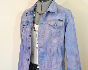 "Pink Violet Medium Cotton JACKET - Periwinkle Dyed Upcycled C'est Toi Denim Trucker Jacket - Adult Womens Size Juniors Medium (38"" chest)"