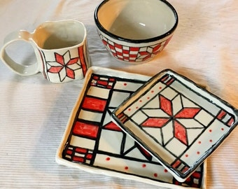 Lemoyne Star Porcelain Dinnerware set 4 pieces, red, white, black, quilt design, modern classic, wedding china, wedding gift, plates, dishes