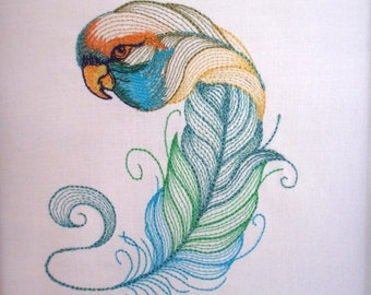 8 Feathered Bird Embroidered Quilt Blocks