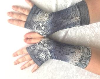 "Soft  fingerless gloves ""Night garden"" viscosa  jersey"