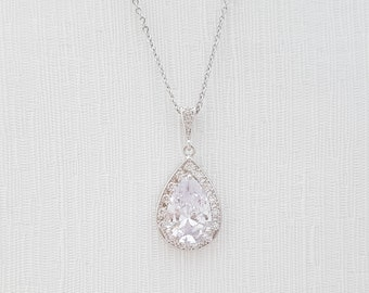 Wedding Necklace Bridal Jewelry Large Clear Cubic Zirconia Necklace Teardrop Pendant Necklace Crystal Drop Necklace Wedding Jewelry, Evelyn
