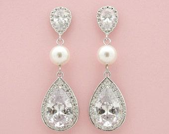 Large Bridal Earrings Crystal Pearl Wedding Earrings Teardrop Earrings Cubic Zirconia Drops Wedding Earrings Bridal Jewelry, Seema
