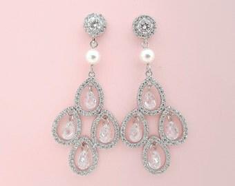 Bridal Chandelier Earrings Pearl Crystal Wedding Earrings Long Bridal Earrings Teardrop Wedding jewelry, Tyra