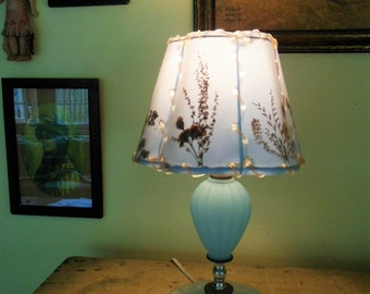 Vintage Frosted Blue Glass Boudoir Lamp, Pressed Flowers Shade.