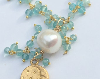 12mm Freshwater Pearl Necklace-Blue Chalcedony  Cluster Dangle Necklace-Charm Necklace