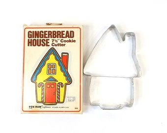 "vintage 80s 7.5"" gingerbread house cookie cutter metal original box large oversize baking bake cutout stamp cookies retro kitchen christmas"