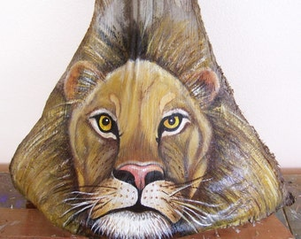 Lion Tiki Mask on Palm Frond Branch