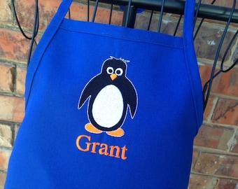 Personalized Penguin Apron - Kids Apron - Adult Apron - Royal Blue Apron - Boy Apron - Girl Apron - Artic Animals Apron - Mr. Penguin Apron