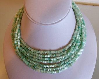 Beautiful Vintage Pale Aqua Blue Satin Glass Necklace