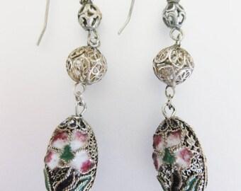 ON SALE Gorgeous 1930's Bohemian Sterling & Enamel Earrings