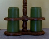 Vintage 1960-70 Avocado Green Plastic Salt and Pepper Set with Wooden Stand